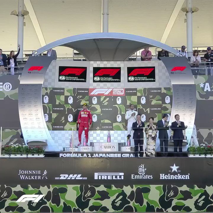 A podium with a difference... @BAPEOFFICIAL took over the Suzuka podium and it was 🔥🔥🔥   #BapeF1 #JapaneseGP #F1xBAPE