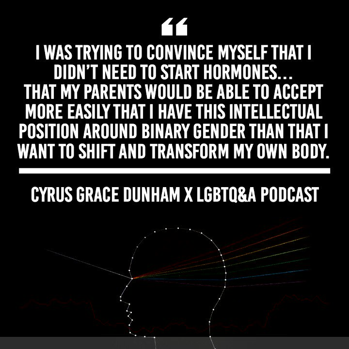 Writer #CyrusGraceDunham opens up on this weeks episode of @lgbtqpod about how his experience of gender is still evolving, how its affected by privilege and whiteness, and why using he/him pronouns feels scary and erotic. Listen on @hearluminary: bit.ly/LGBTQPodxCyrus