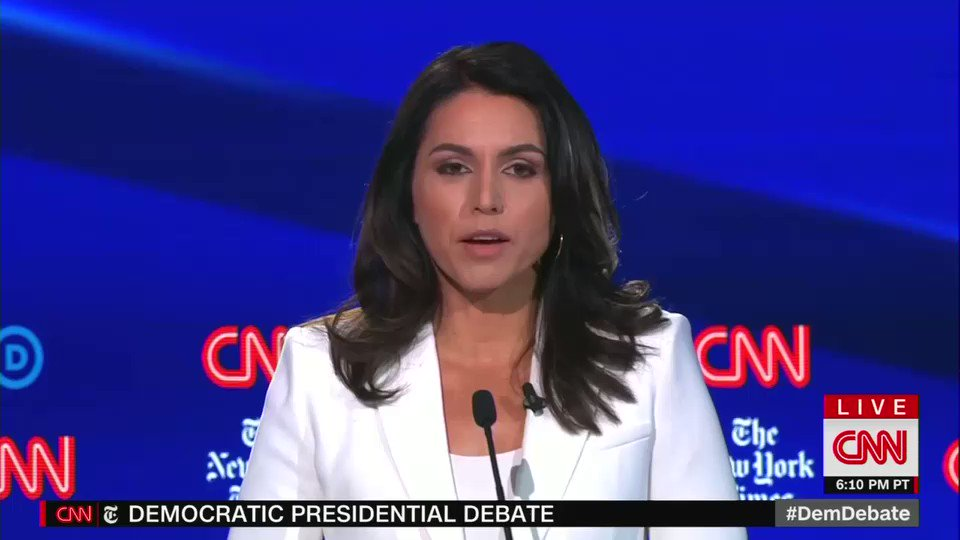 Tulsi Gabbard calls The New York Times and CNN — the hosts of the debate — completely despicable for alleging she is a Russian asset and Assad apologist.