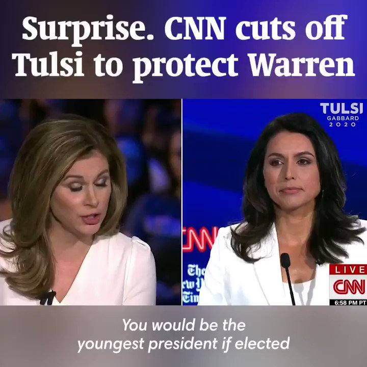 Surprise. CNN cuts off Tulsi to protect Warren. —Vrindavan (Tulsi's sister)