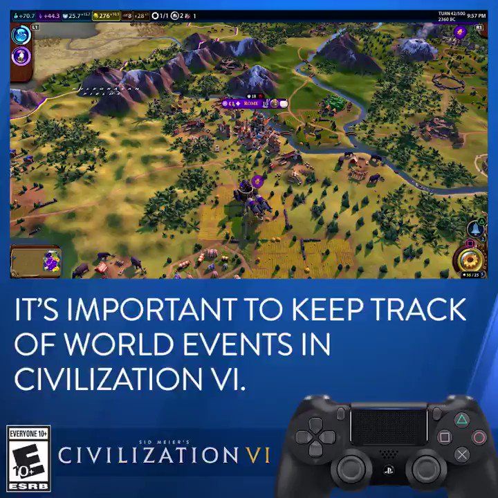 Keeping tabs on the world around you is the key to success in Civilization VI, available November 22 on #PS4. @PlayStation