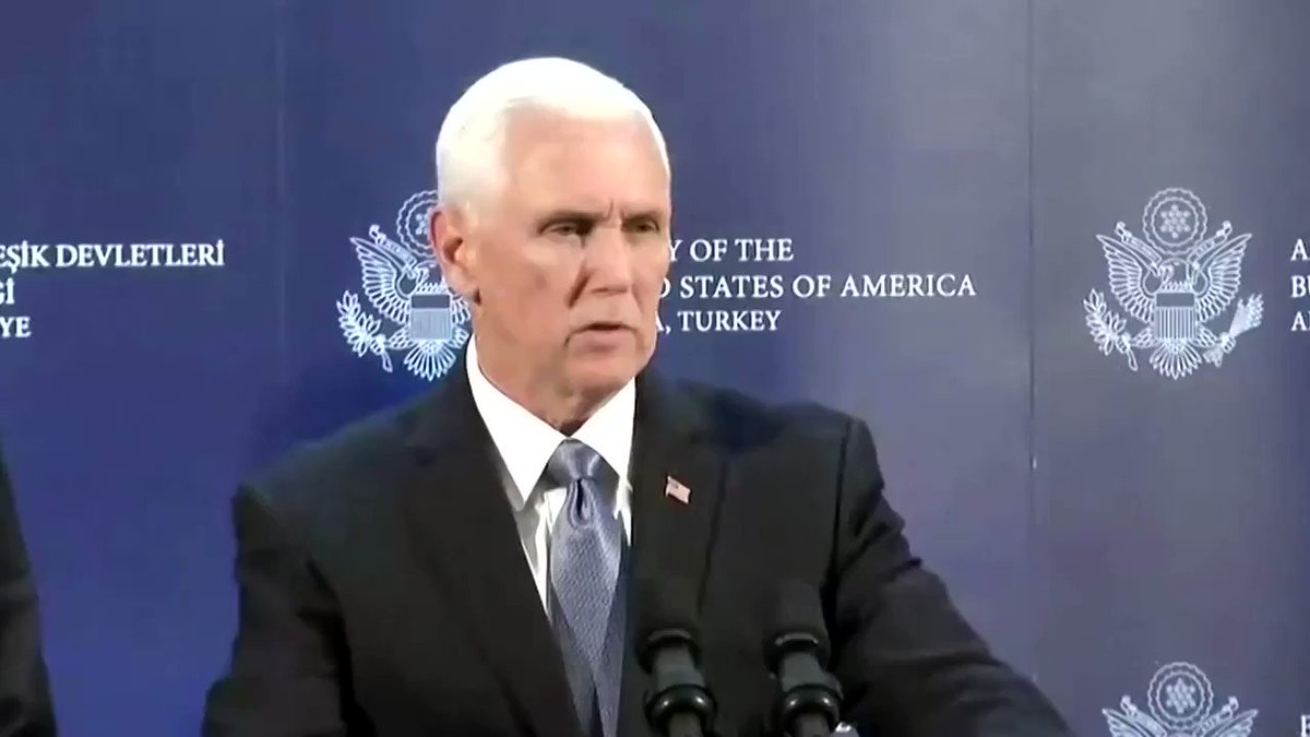 Vice President Mike Pence announced a five-day ceasefire with Turkey in northeast Syria. Pence had flown to Turkey to call for a halt in its cross-border military operation, called Operation Peace Spring  https://reut.rs/2qfKjvk