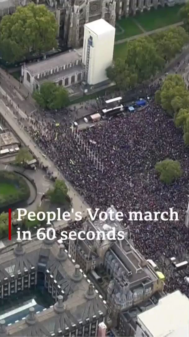 """Tens of thousands of people marched through London to Westminster, calling for a """"final say"""" vote on #BrexitThose attending the #PeoplesVoteMarch cheered as MPs backed a delay to Boris Johnson's new deal[Tap to expand] https://bbc.in/33ORF7t"""