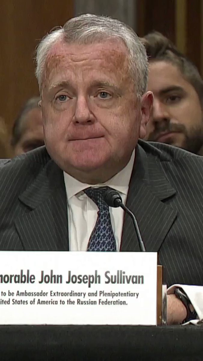Russian Amb. nominee John Sullivan on whether he was aware of the effort to smear then-Amb. to Ukraine Yovanovitch: I was. Sen. Menendez: Was Rudy Giuliani involved? Sullivan: I believed he was, yes.