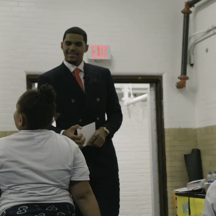 """""""If any kid who comes out of here says, 'Hey, he cares for what I'm doing outside of what his own job is.' It's the biggest thing.""""  @tobias31 gave back to the community in a major way in his first annual community draft."""