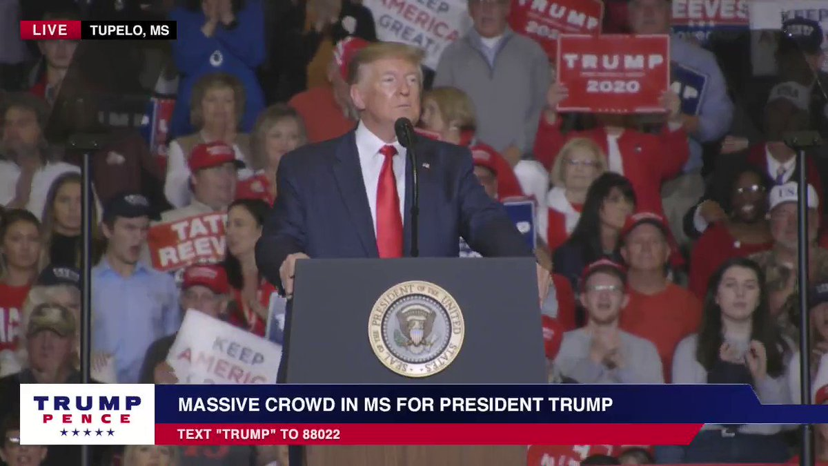 President @realDonaldTrump on sacred values in America in a Keep America Great rally in Tupelo, Mississippi: We will never stop fighting for the sacred values that bind us together as one America.