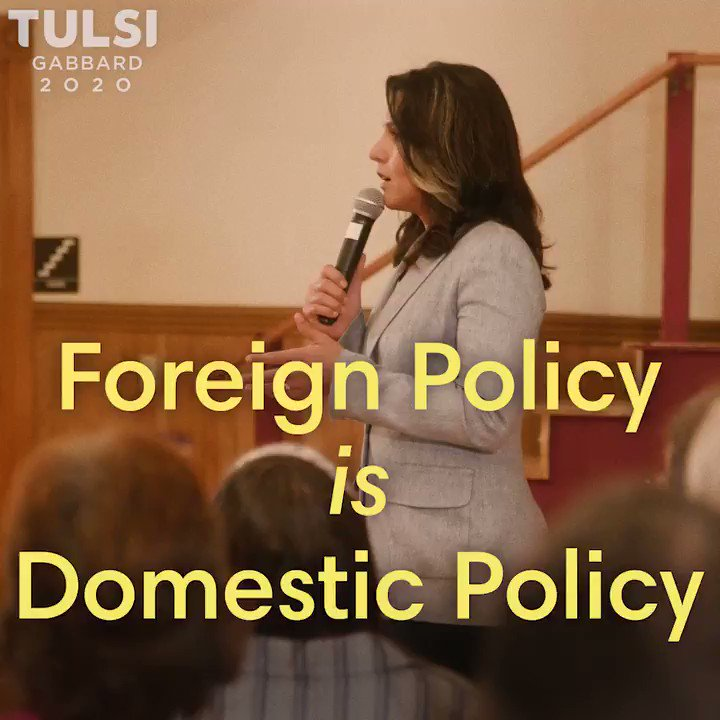 Foreign policy can't be separated from domestic policy because the waging of regime change wars, the new cold war, and the nuclear arms race is costing American lives and wasting trillions of $ that should be invested in domestic needs like health, education, infrastructure, etc.