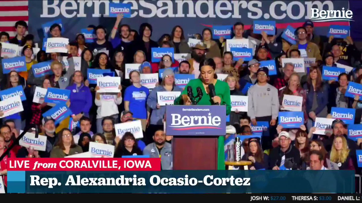 My Why Bernie is because when I was a kid… and my mom was cleaning houses and my dad was trying to start a business, and my parents were struggling to have health insurance, let alone me, Bernie was fighting for us. -@AOC