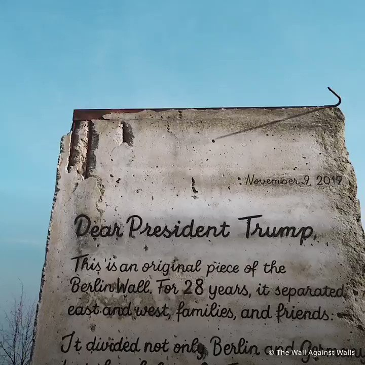 Walls dont work. A German NGO sent a very heavy letter to the US... hand-written on an actual segment of the former Berlin Wall.