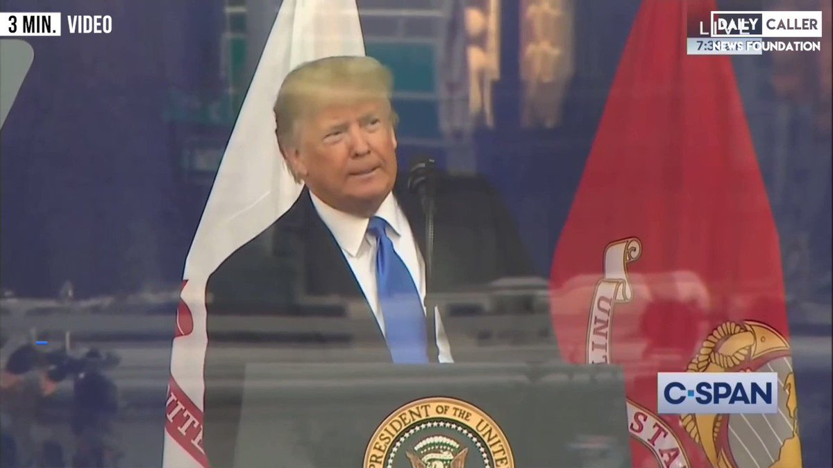 Retweet President Trump Spoke at 100th NYC Veteran's Day Parade! He's the first sitting president in @WhiteHouse to attend.  @POTUS @realDonaldTrump acknowledged November 10 honoring the Birth of US Marine Corp in 1775! 🇺🇸  Happy 244th Birthday @USMC! 🇺🇸  Semper Fi! 🇺🇸  Oorah! 🇺🇸