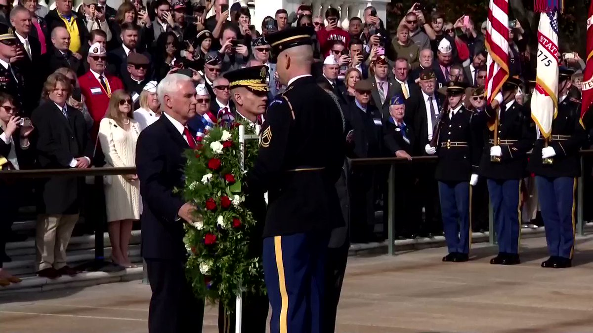 U.S. Vice President Pence pays respect at the Tomb of the Unknown Soldier as the U.S. remembers its soldiers on World War One