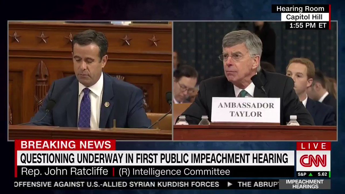 """.@RepRatcliffe: """"If House Democrats impeach Pres. Trump for a quid pro quo involving military aid, they have to call Pres. Zelensky a liar. If they impeach him for abusing his power or pressuring or making threats or demands, they'd have to call Pres. Zelensky a liar to do it."""""""