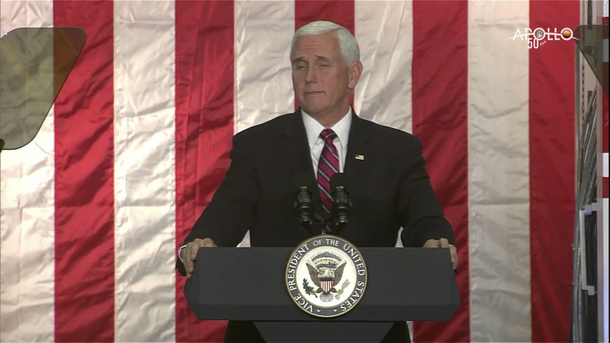 """""""The next man and the first woman on the Moon will be American astronauts,"""" says @VP Mike Pence during a visit to @NASAAmes. Learn more about our #Artemis missions to return to the lunar surface: https://www.nasa.gov/artemis/"""