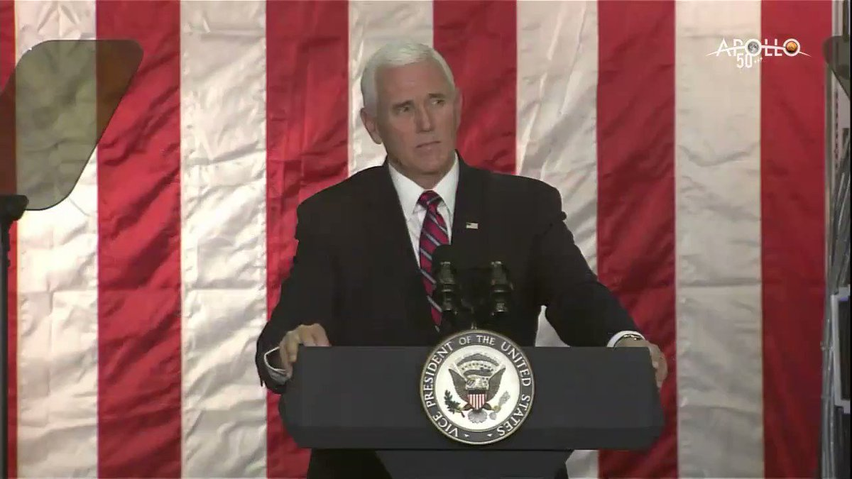 """As a part of our #Artemis program, we will return @NASA_ Astronauts to the Moon for long-term exploration. """"Not only to plant our flag and leave our footprint, but to establish a foundation for an eventual mission to Mars,"""" says @VP Mike Pence. Watch: https://twitter.com/i/broadcasts/1ypJdBlWeYpKW…"""