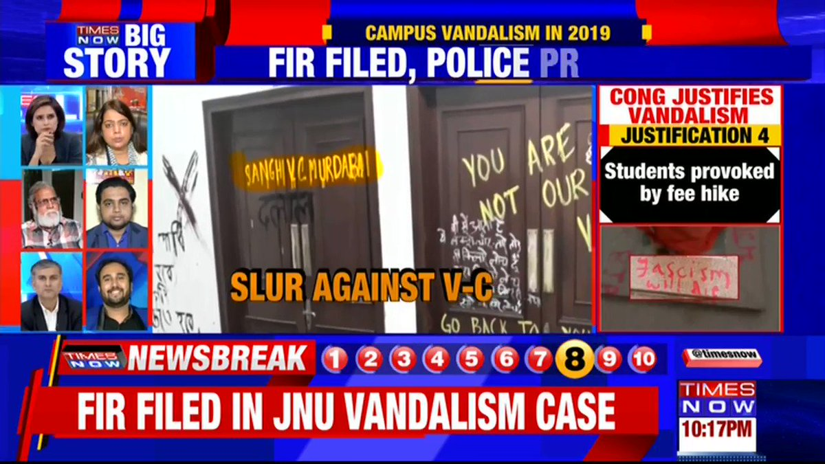 An FIR has been filed against the students of JNU for vandalism: @abhimishrabjp, Political Analyst tells TIMES NOW over@INCIndia justifying vandalism in JNU.