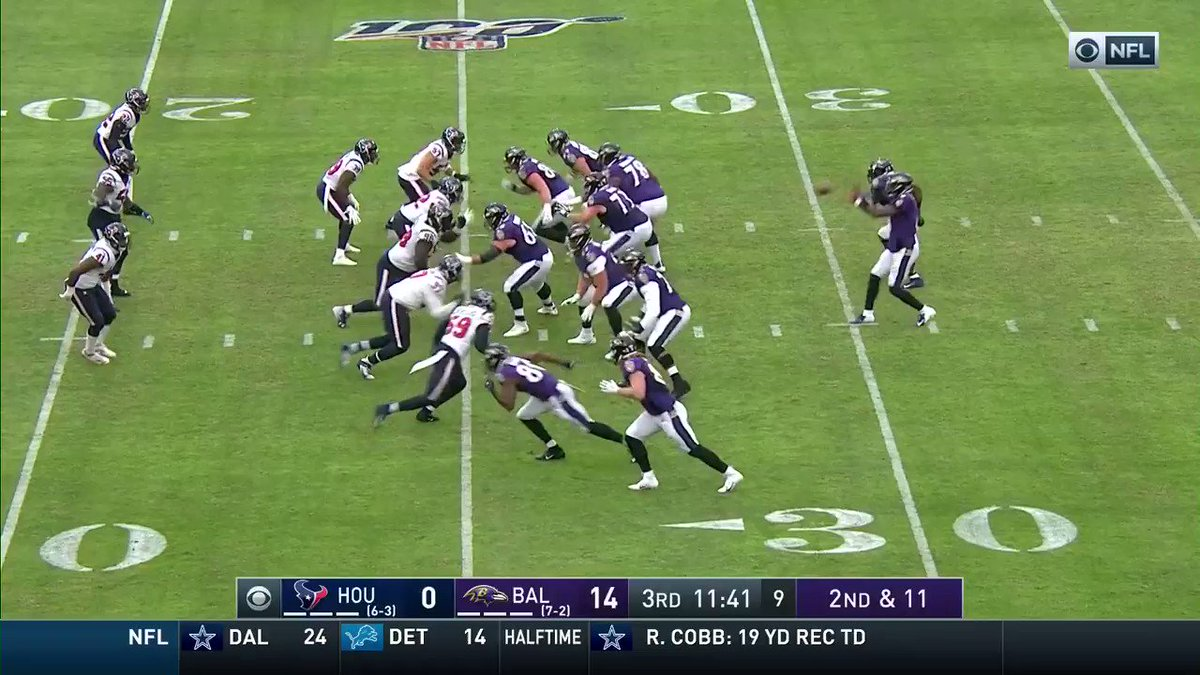 .@MarkIngram21 takes the short pass 25 yards to the house! Lamar Jacksons third TD pass of the day. @lj_era8 #RavensFlock #HOUvsBAL 📺: CBS 📱: NFL app // Yahoo Sports app Watch free on mobile: on.nfl.com/lJfqDj