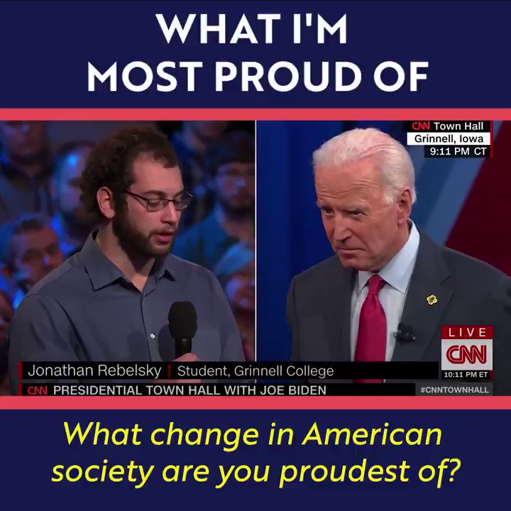 At the CNN Town Hall, I was asked what changes in American society I'm proudest of. Here's what I had to say:
