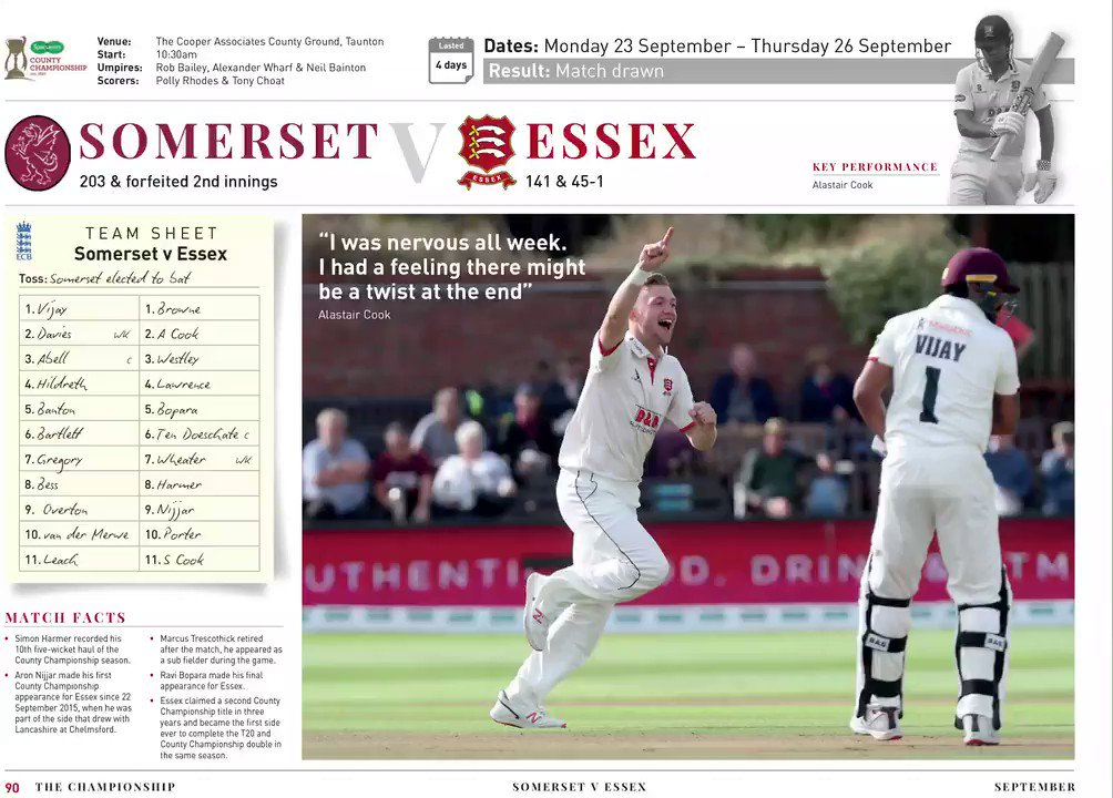 📕 We Dreamed, We Dared, We Delivered: Part 1 - The Championship Relive the 2019 Championship campaign with 104 pages of photos, stats, scorecards and more, re-collecting the journey which saw Essex claim the title on the final day of the season. 🛒 bit.ly/ESSEXSTORECHAM…