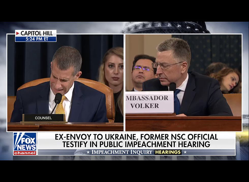 "Q: In no way shape or form... did you receive any indication whatsoever that resembled a quid pro quo. Is that correct?""  Ambassador Volker: ""That's correct."""
