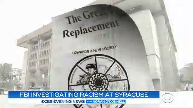 The FBI has joined the investigation into a series of racist and anti-Semitic incidents at Syracuse University, the most recent on Monday, when a white supremacist manifesto was sent to students' cell phones.  Here's @adrianasdiaz