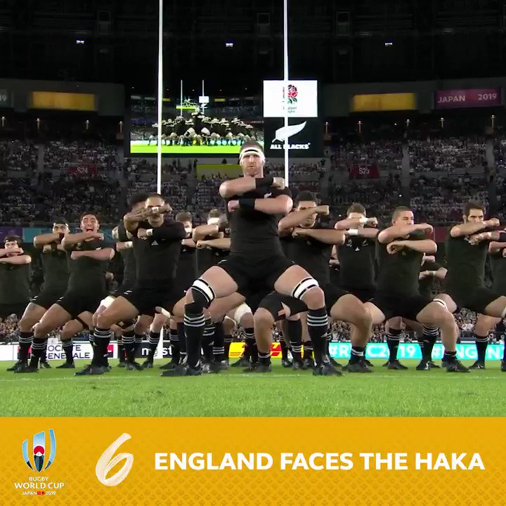 The @AllBlacks lay down the challenge... and @EnglandRugby show theyre up for it 😏 An epic haka from the #RWC2019 semi-finals