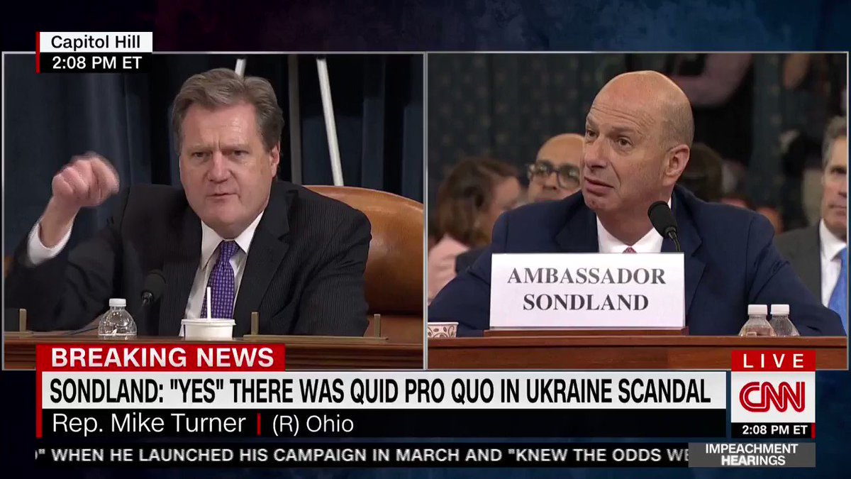 Rep. Mike Turner (R-OH): No one on this planet told you that this aid was tied to investigations. Yes or No? Ambassador Gordon Sondland: Yes Turner then hammers CNN: The headline on CNN is wrong