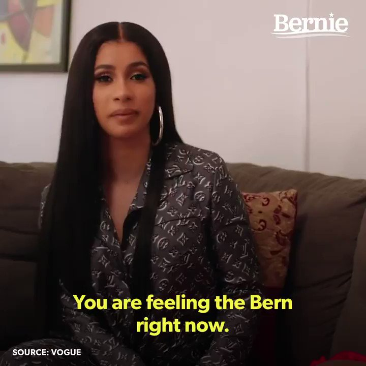 What I like about Bernie Sanders is that hes been doing this for a long time, hes a natural humanitarian. –@iamcardib