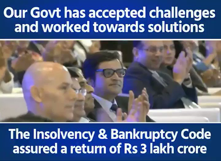 We've not only accepted challenges but have worked towards solutions seriously. We brought the problem of NPAs in front of people that was hidden by UPA Govt & solved it. The Insolvency & Bankruptcy Code has assured return of Rs 3 lakh crore to the system: PM #PMatRepublicSummit