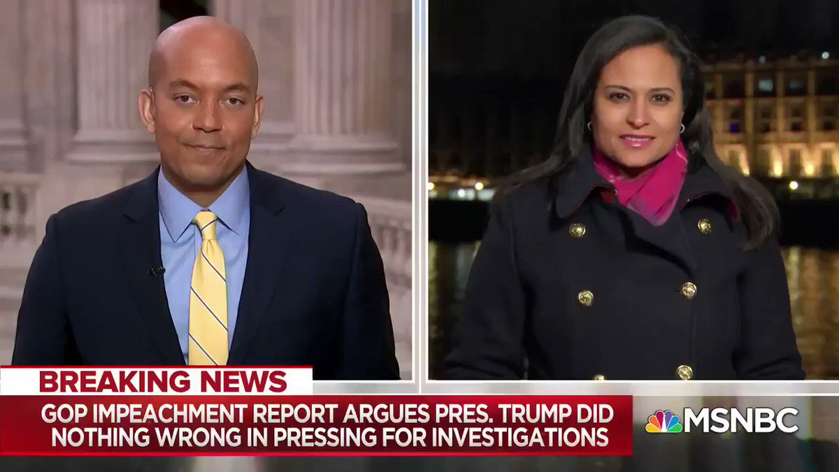 "WATCH: What is the GOP impeachment report aiming to do? @GeoffRBennett: ""What [Republicans] need to do heading in to Wednesday's hearing is to just give Republican lawmakers something to seize upon ... as they try to come to Pres. Trump's defense."" #MTPDaily"