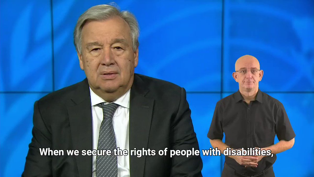 Securing the rights of all people with disabilities is essential to build an inclusive and sustainable future in which everyone can realize their potential.On this International Day of Persons with Disabilities, I reaffirm the @UN's commitment to leave no one behind.
