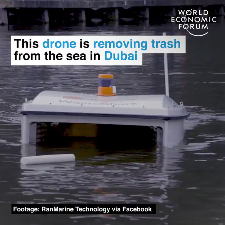This drone sucks litter up from the water, and can collect up to 200 LITRES of waste in one trip. What a fantastic example of #tech being used for good 👏🌊 (@RanMarineTech)