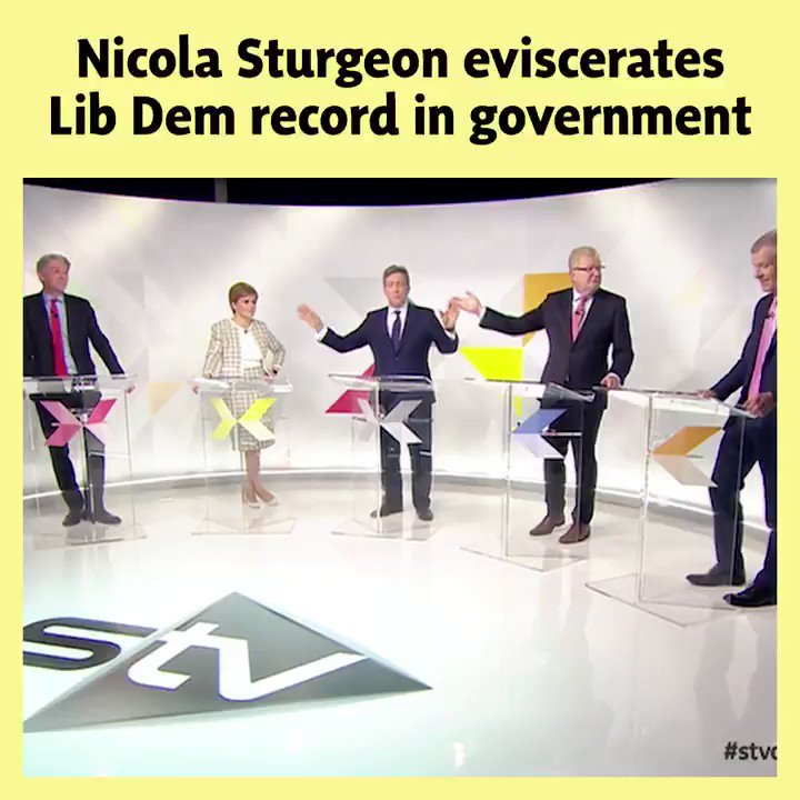 🔥 In under 3 minutes, @NicolaSturgeon exposes and eviscerates the Liberal Democrats record of working with the Tories in coalition. 🗳️ Lib Dems cannot be trusted to protect Scotlands interests, only a vote for the SNP on December 12th can. #VoteSNP #stvdebate #GE2019