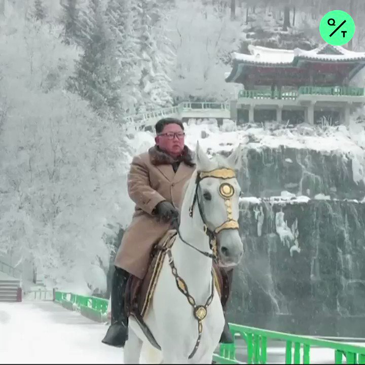 "ICYMI: Kim Jong Un rode a white horse up a sacred mountain for second time in less than 2 months, state media reported. The ride comes as Trump revived both his ""Rocket Man"" nickname and the threat of military force against North Korea bloom.bg/2OZAkUO"