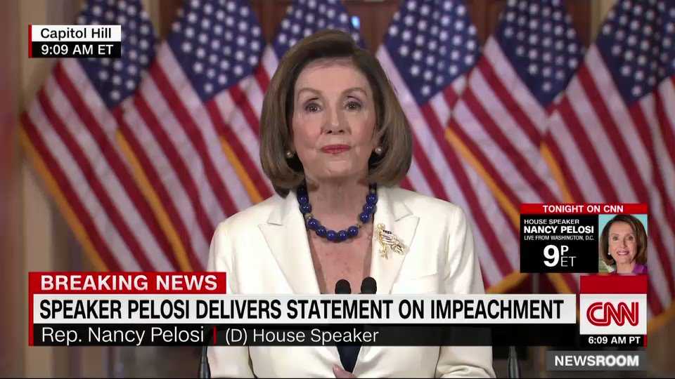 "BREAKING: Speaker Nancy Pelosi: ""Today, I am asking our Chairman to proceed with articles of impeachment"" cnn.it/33OhYud"