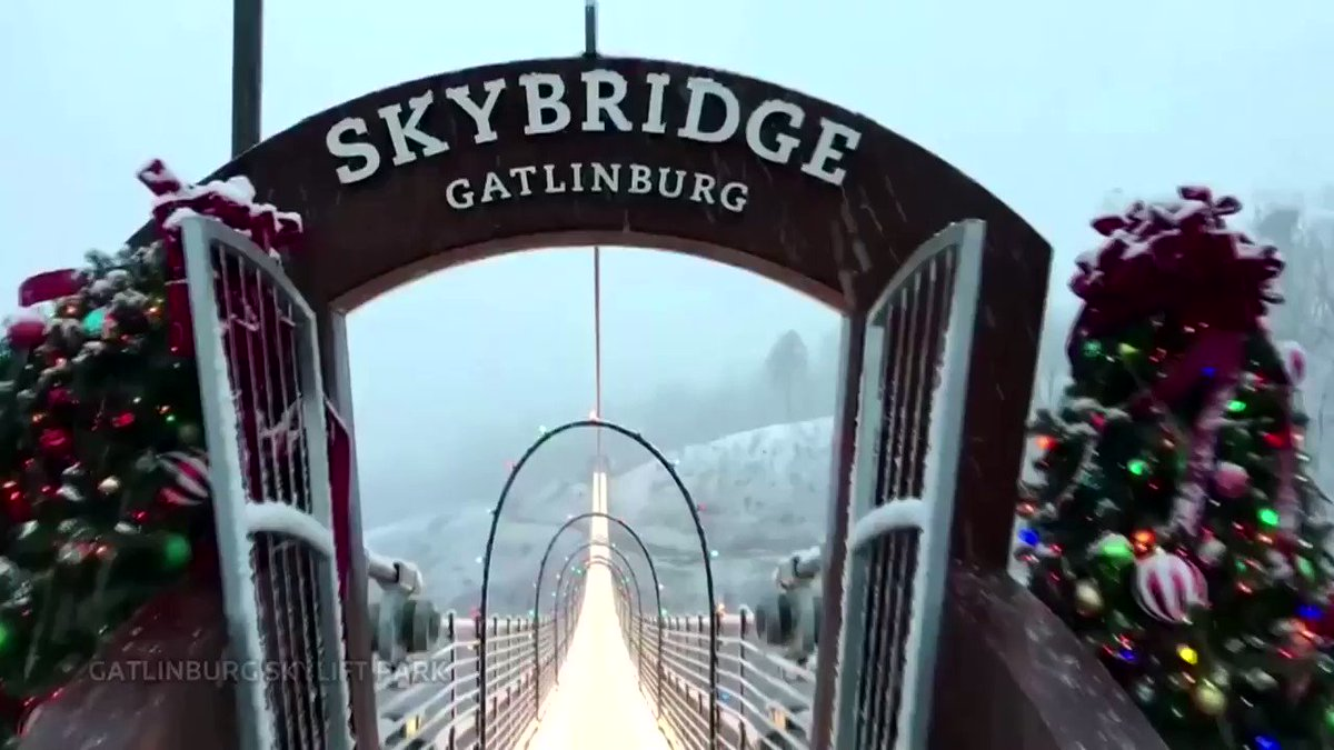 ICYMI: Deck the bridge with boughs and holly - The Gatlinburg SkyBridge in Tennessee gets lit up for Christmas