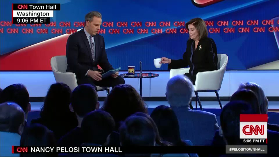 """The President is a master at projecting. When he calls somebody else nervous, he's the nervous one. When he suspects that somebody's not praying, he's probably not praying,"" House Speaker Nancy Pelosi says, responding to Trump's tweets attacking her. #PelosiTownHall"