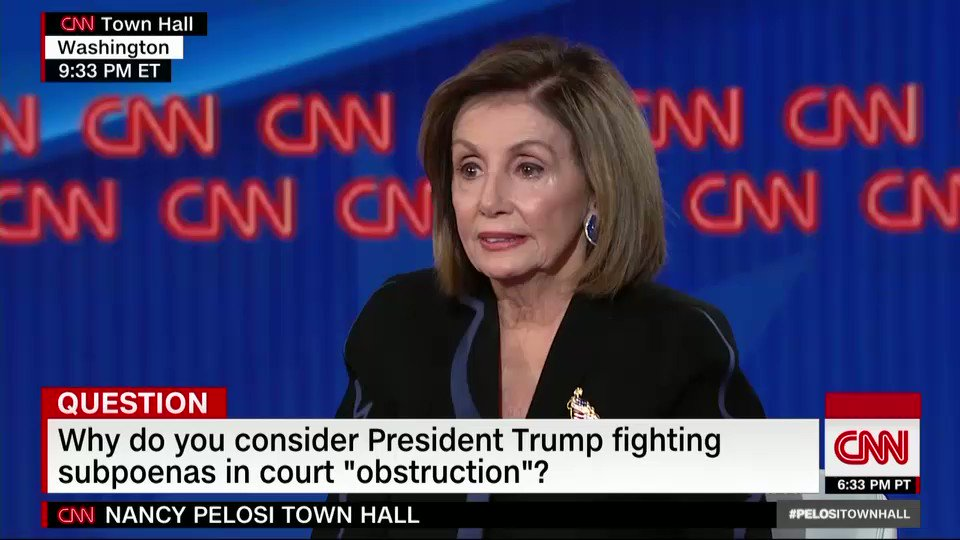 "John Bolton and Mick Mulvaney should testify in the impeachment inquiry ""because they have been asked to testify by Congress,"" says House Speaker Nancy Pelosi. ""It isn't a deal. It's about a system of checks and balances."" #PelosiTownHall https://cnn.it/2PhwOEf"