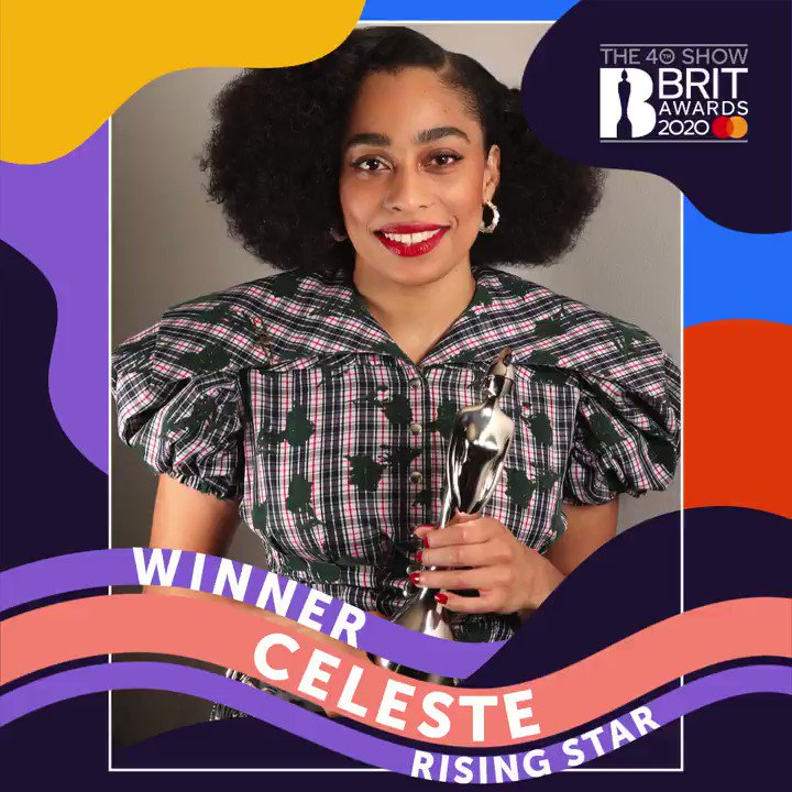 ✨ Exciting news alert!!! ✨ The winner of The #BRITs 2020 Rising Star is... @celeste! 🎉 Already counting down the minutes until we get to see you perform on February 18 😍