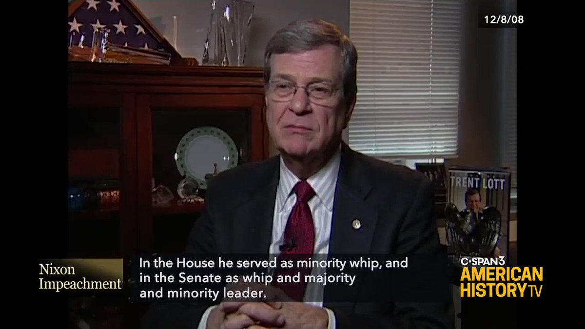 U.S. Representative Trent Lott (R-Mississippi) reflects on his experience on the House Judiciary Committee during the impeachment inquiry of President Richard Nixon in 1973 and 74. Watch the entire @NixonLibrary interview tonight at 6pm ET on C-SPAN3
