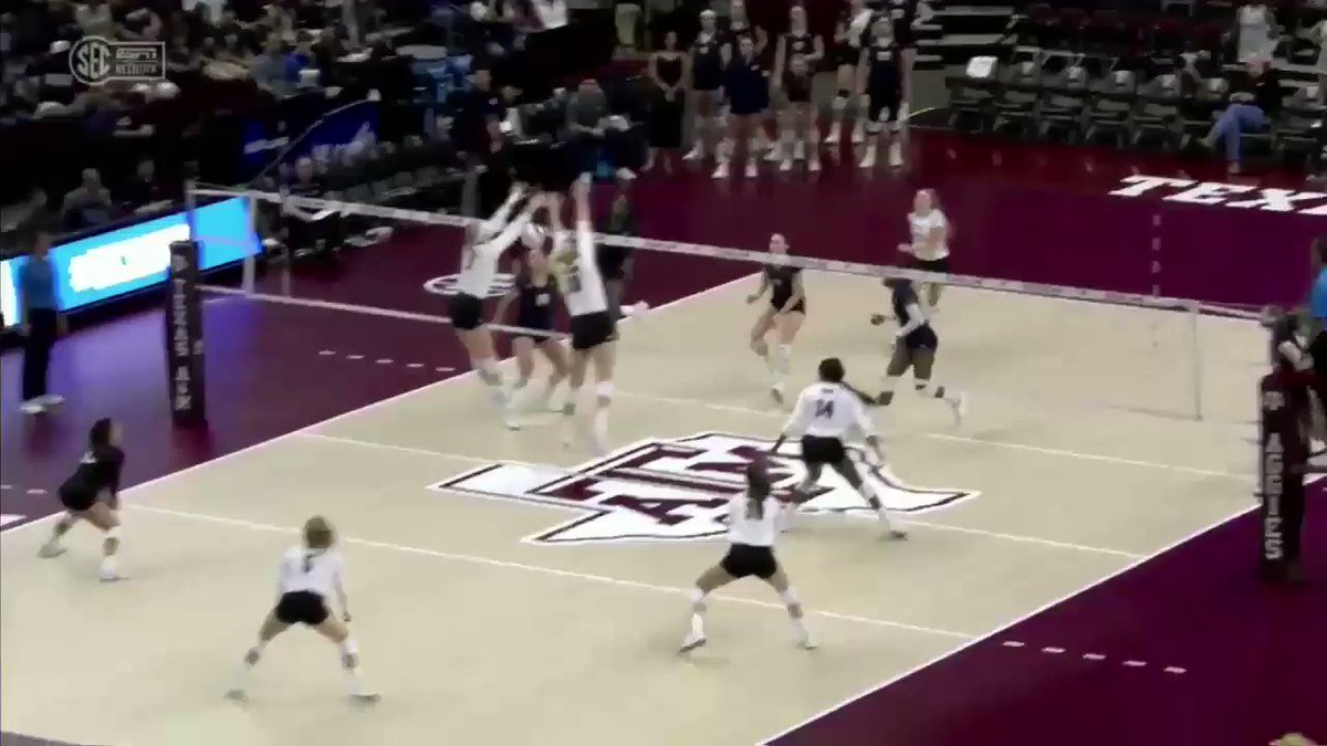 Just a bit out of system 😱😱😱 #NCAAVB | @AggieVolleyball