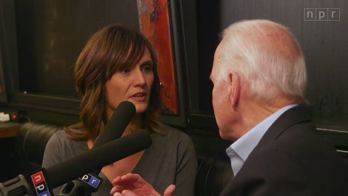 """Joe Biden is defending calling a voter a """"damn liar"""" after the heated town hall exchange drew criticism earlier this week.""""The fact of the matter is, this guy stood up and he was, in fact, lying,"""" the former vice president told @rachelnpr, in an interview on his Iowa tour bus."""