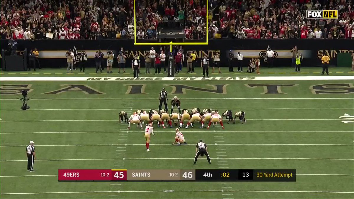 Robbie Gould delivers the game-winning field goal 🙌  49ers beat the Saints in a thriller!  (via @NFL)