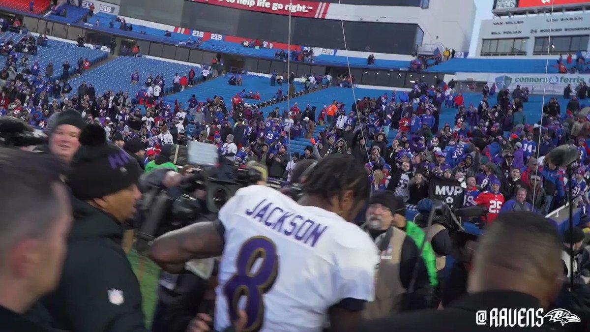 M 👏 V 👏 P 👏  Lamar Jackson left the field in Buffalo to MVP chants. (via @Ravens)