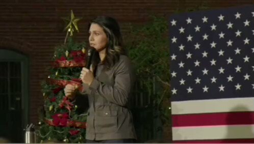 Rep. @TulsiGabbard speaks in Nashua, NH: I will remain very focused on that mission of service in putting putting country first every single day, and never - never - bowing to the interests of the military industrial complex.