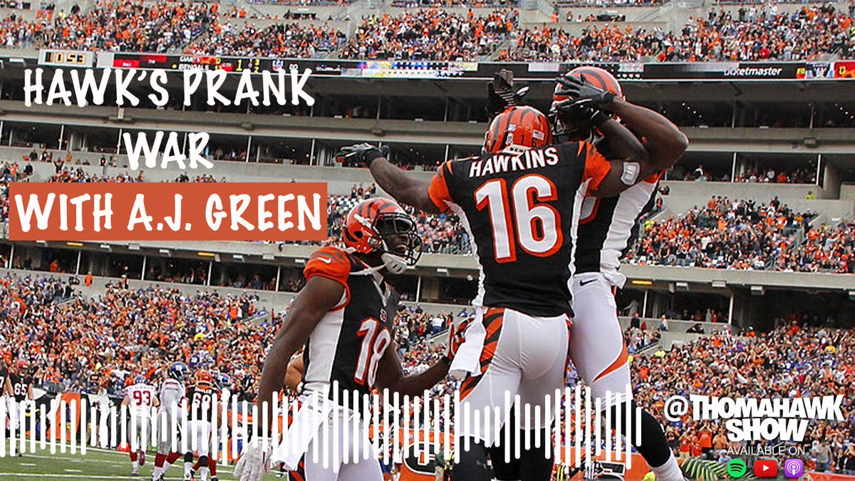 In Cincinnati, @Hawk got into a prank war with A.J. Green that almost cost them a chance at a game. 😳  The ThomaHawk Show is brand-new!  🎧: http://podcasts.uninterrupted.com/HawksPrankWar
