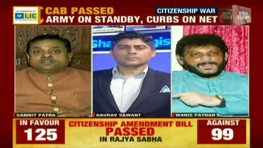 Rajya Sabha passes #CitizenshipAmendmentBill. BJPs @sambitswaraj and AIMIMs @warispathan debate on the #Newstrack LIVE: bit.ly/IT_LiveTV