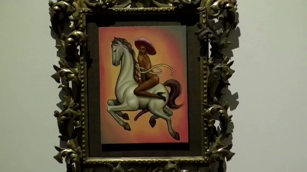 Mexican artist Fabian Chairez is facing the heat for painting revolutionary hero Emiliano Zapata in high heels and a pink sombrero while riding an aroused horse reut.rs/38HTBSO