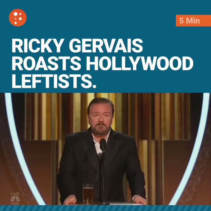 Ricky Gervais's #GoldenGlobes monologue was brutally savage, utterly fearless, and 100% true. 🔥🔥