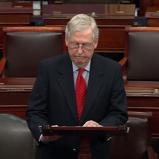"""Sen. McConnell criticizes Democrats over Iran: """"Can we not maintain a shred, just a shred of national unity for five minutes before deepening the partisan trenches?...Could we at least remember we're all Americans first, and we're all in this together?"""" https://abcn.ws/2K0BLjq"""