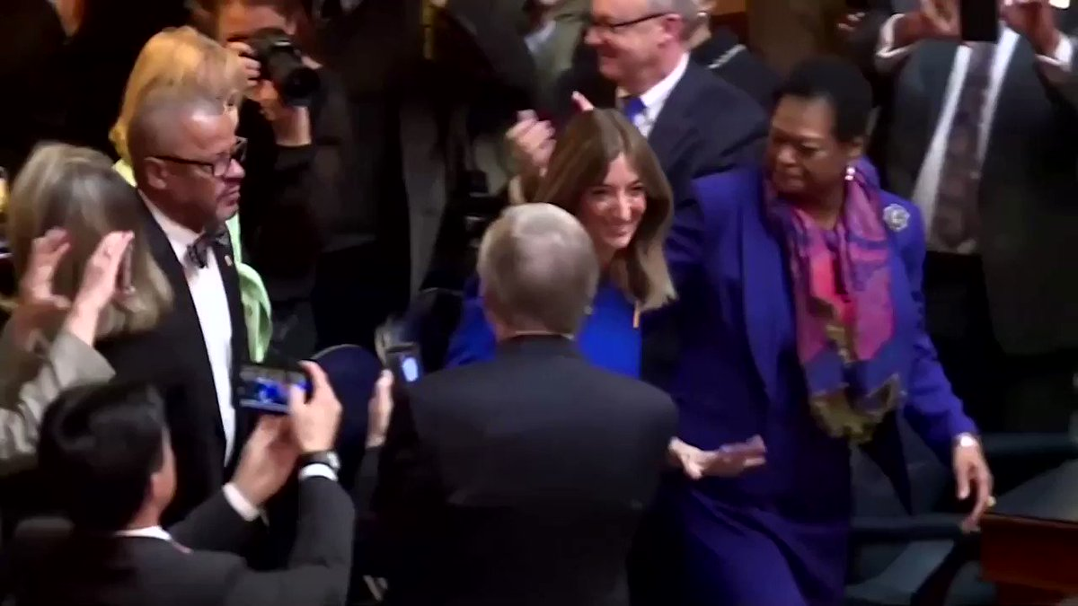 Eileen Filler-Corn is sworn in as the first female house speaker in Virginia state's 401-year history